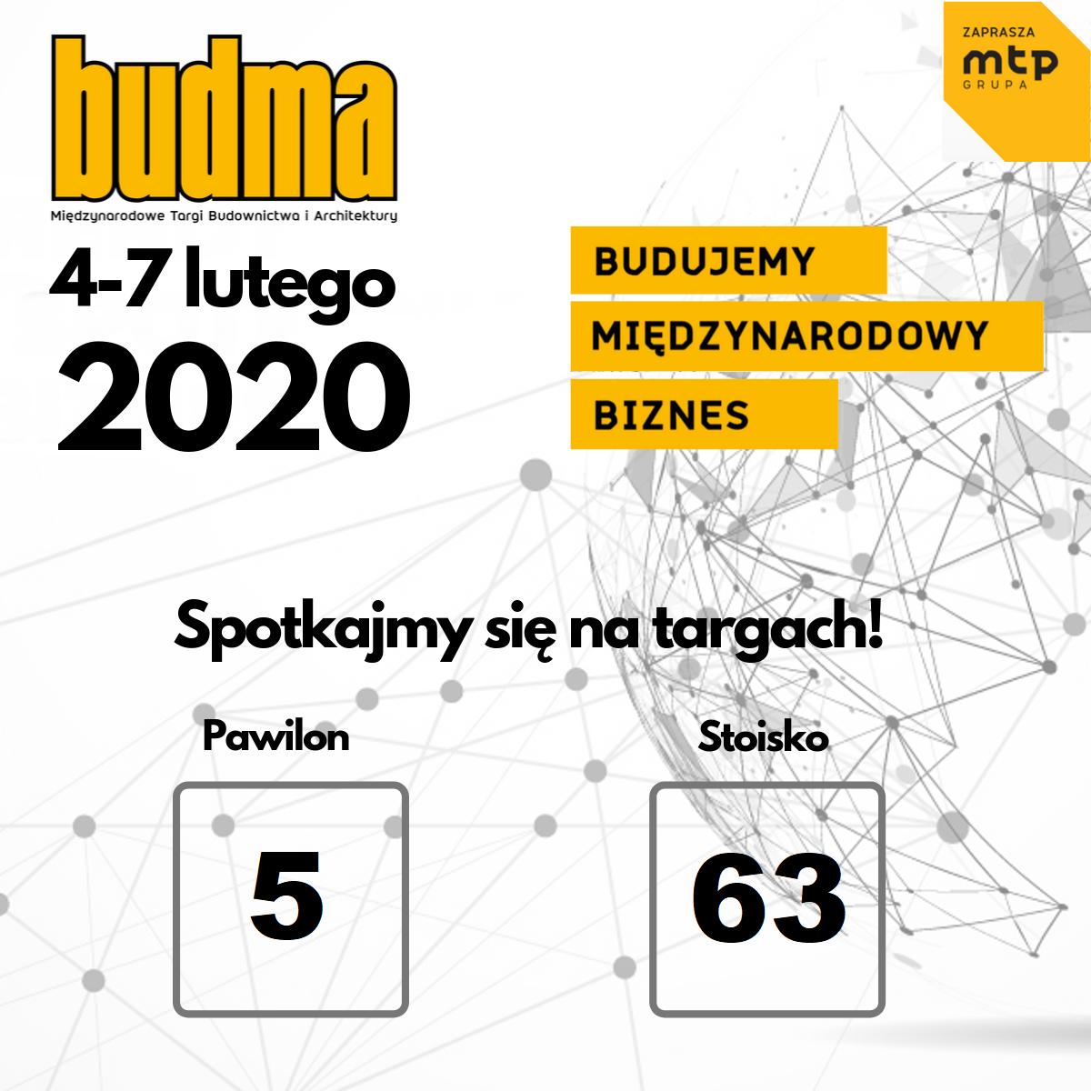 Zapraszamy naTargi BUDMA 2020